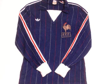 70's vintage adidas france national team football shirts ventex made in France