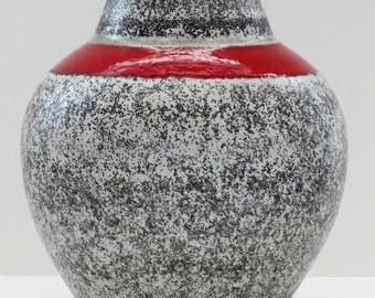 Jasba Mid Century XL Bulbous Grey & Red West German Vase