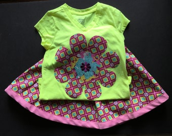 Girls Skirt Set, Size 4/5, Fuchsia Circular Skirt and coordinating Neon yellow tee w/matching appliqued layered flower, spring/summer/school