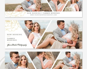 Wedding Facebook Timeline Cover Template Set - Gold Facebook Timeline Cover, Facebook Marketing, Photoshop Template for Photographers