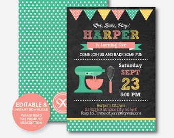 Instant Download, Editable Baking Birthday Invitation, Baking Invitation, Chef Invitation, Baking Party, Cooking Party, Chalkboard(CKB.130B)