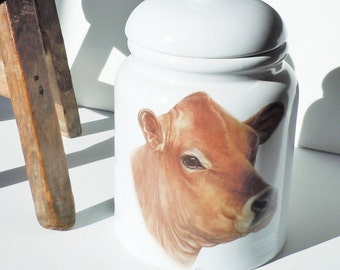 Canister with Cow Image / Adorable Jersey Cow Face / Bright White Porcelain with Rubber Gasket