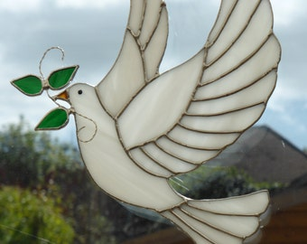 Stained glass dove - made to order - peace dove - glass ornament - religious gifts - stained glass suncatcher - dove decoration - white dove