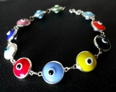 Colorful Evil Eye Bracelet Sterling Silver Amulet Protection Good Luck Mati Lampwork Glass Beads Chain Link Greek Jewelry Gift For All