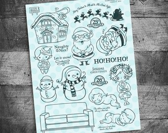 Christmas stamps, snowman stamps, holiday stamps, santa stamps, elf stamp, sleigh,  december daily, christmas scrapbook, document december