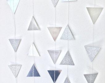 Triangle Garland - Geometric - Tribal - Silver - Metallic - Glitter - Christmas Garland