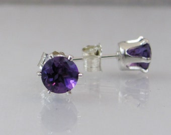 Amethyst Stud Earrings in Sterling Silver, Amethyst Gemstone Jewelry, 5mm Post Earrings, February Birthstone, Wedding Jewelry, Bride Earring