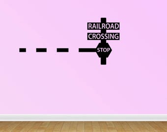 Wall Decal Quote Railroad Train Crossing Lights With Arm Train Theme Railroad Children Kids Boys Bedroom Stickers (PC273)