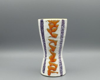 Scheurich  Diabolo vase with nice colourful  decor ,  lovely glaze. 1960s Mid Century Modern home deco vase.