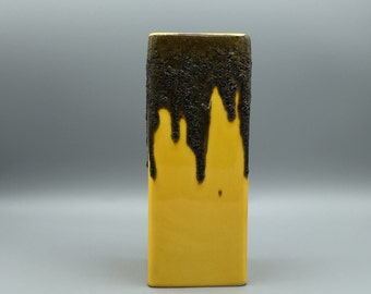 Fohr Keramik 341 - 20  rare dark yellow / black rectangular Fat Lava Mid Century  Art ceramic  West Germany vase  1960s - 1970s  . WGP.