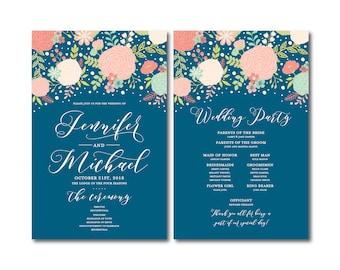 Floral Wedding Programs, Order of Ceremony Programs, Boho Chic, Wedding Ceremony Programs, Wedding Programs, Boho Wedding Programs #CL332