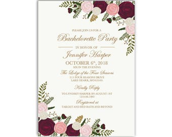 bachelorette party invitation template diy bachelorette invite cheap invitation floral invitation instant - Cheap Bachelorette Party Invitations