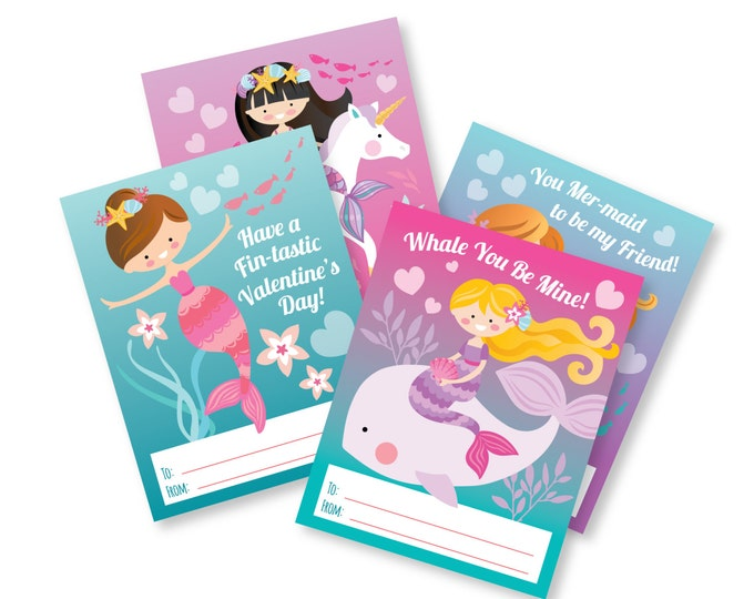 Mermaid Valentines Day Cards / printable DIY card / classroom Valentine for kids / Instant Download Valentine Cards