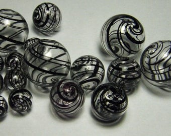 Hollow Blown Glass Beads 20mm Clear with Black stripes (6)
