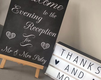 Personalised Welcome to our Wedding Evening sign. Welcome to the evening reception for......