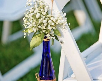 Rustic Wedding centerpieces or walkway Flower display - Cobalt blue glass bottles (1/2 size) or beer bottles size