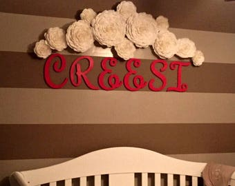 12 giant large paper flowers Nursery Wall home decor Photo Backdrop white gold Wedding bridal shower baby chanele Princess Party communion