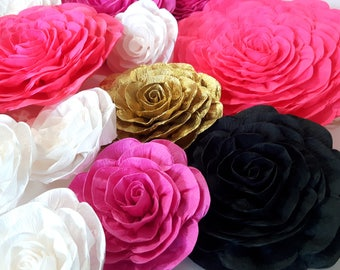 10 giant large paper flowers bridal kate shower spade baby bakdrop Birthday party pink gold black white wedding wall Nursery Decor Princess