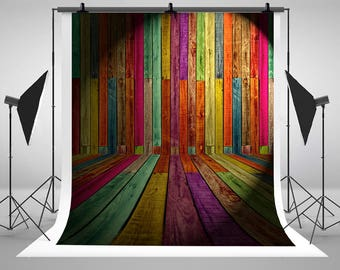Colorful Wood Wall Photography Backdrops No Creases Wood Floor Stripe Photo Backgrounds for Children Studio Props NTZC-040