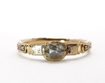 SALE | 1735 Antique Rose Cut Diamond Memento Mori Memorial Mourning Ring Georgian