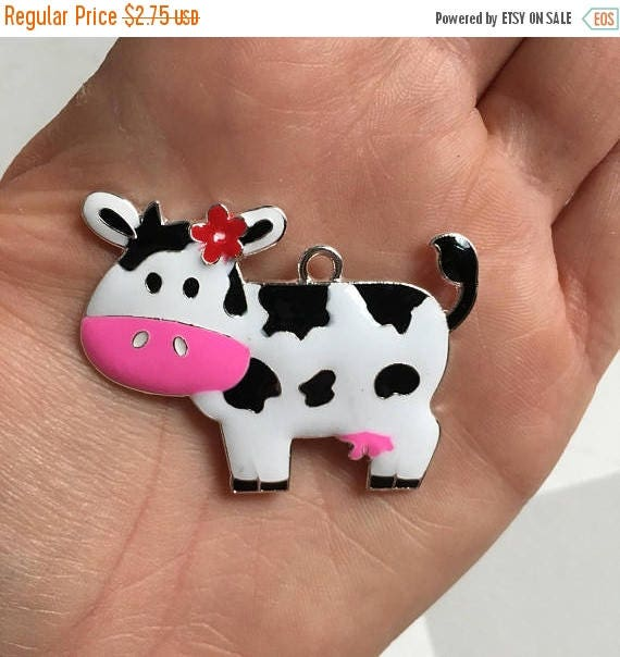 MEMORIAL SALE H13 Cow with Pink Bow Rhinestone Pendant