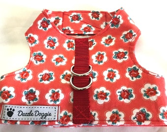 Dog harness, vintage flower dog harness, rose harness, orange harness, red harness, jacket harness, Velcro harness, puppy harness, handmade