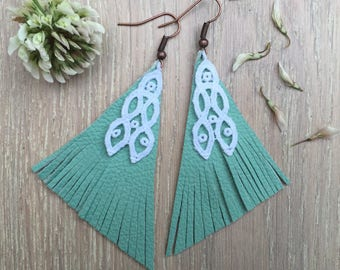 """Turquoise & white chandelier leather and lace Earrings """"Pyramid"""" - boho earrings - chandelier earrings - unique jewelry"""