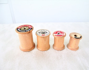 Vintage Clarks And Coats Unfinished Wooden Thread Spools Set Of 4, Wooden Craft Thread Spools, Wood Spools Set Of 4