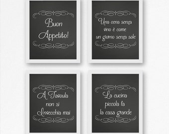 Italian wall art, kitchen decor, wall hangings, Italian wall decor, Italian kitchen, Italian sayings, chalkboard art
