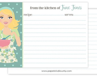 4x6 personalized recipe cards, set of 25 double sided recipe cards for bridal showers or housewarming gift - blonde hair/mint apron
