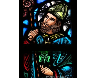 holy St Patrick card, stained glass St. Patrick card, Irish gift, religious st patrick, miami st patrick card, happy st patrick's day card
