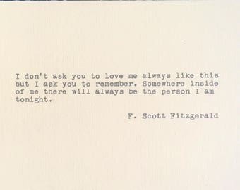F Scott Fitzgerald Typed on Vintage Typewriter