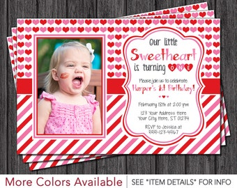 Valentine Birthday Invitation | Valentines Day Birthday Invitations | Sweetheart Birthday Invitation