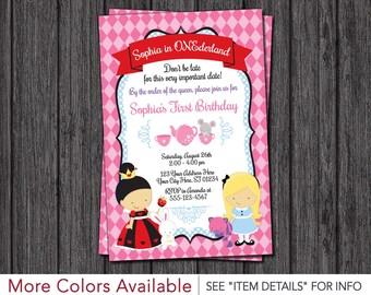 Alice in Wonderland Invitation - Alice in ONEderland Birthday Invitation
