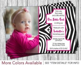 Zebra First Birthday Invitation