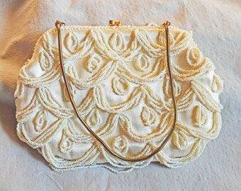 Vintage Evening Bag or Beaded Purse - Mister Ernest, Hong Kong, 1960s, White Satin with Beads