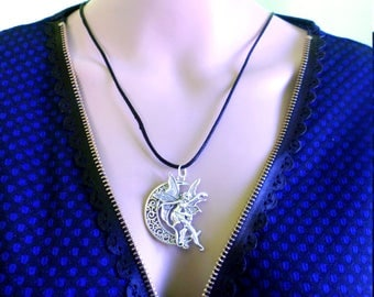 fantasy necklace with Crescent Moon and fairy