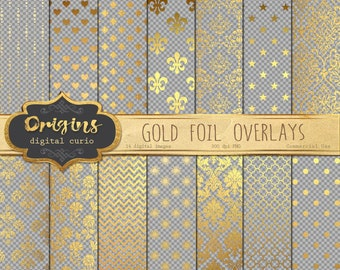 Gold Pattern Overlays for Digital Paper, Scrapbooking, Invitations, Gold foil Embellishments, 12x12 inches Gold leaf overlay clipart