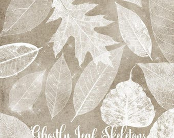 Ghostly Leaf Skeleton Clipart, white skeleton leaves clip art overlays, glowing sparkle fall autumn digital instant download commercial use