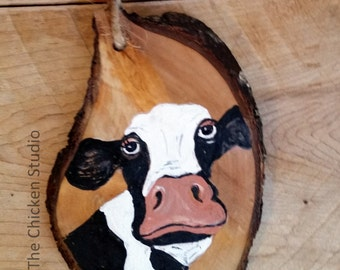 Cow Ornament, Christmas Ornament, Cow decor, Farm ornament, Cow, Wood Slice, Wood Ornament, Gift idea