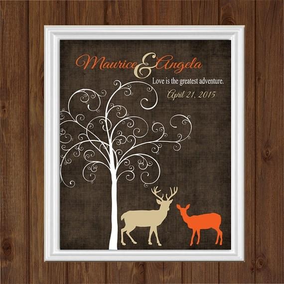 Art Print Wedding Gift : DEER Wedding Print, Couples Gift, Doe Art, Wedding Date Print ...