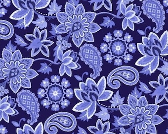 "Deco Nature Navy by David Textiles Deco Nature  Collection 44"" Quilting Cotton"