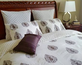 Queen duvet cover/ brown duvet cover / duvet cover queen/ Doona covers/ Comforter covers/ Hand block printed/ brown bed cover/ queen bedding