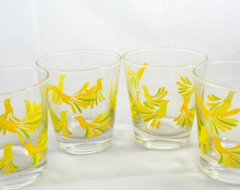 4 Swanky Swigs Tumblers , Lowball Glasses , Yellow Birds , 1960s Glassware