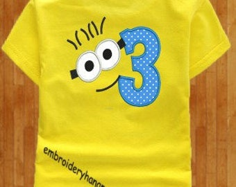 minion face numbers applique 9 numbers machine embroidery 2 size 5x7-6x10