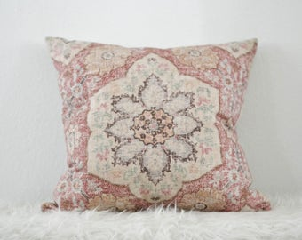 Tribal Pillow Cover, Pink Decorative Pillow, Global Patterned Pillow Cover, Medallion Patterned Pillow Cover