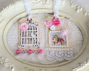 Mixed Media Altered Art Collage, Romantic French Décor, Embellished gift tag, Bird Cage tag