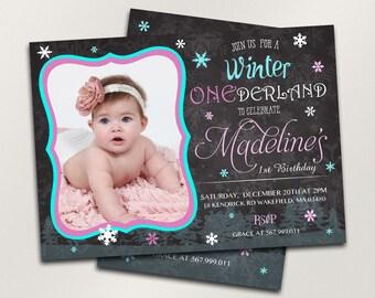Winter Onederland Invitation, Girl First Birthday Invitations, Custom Birthday, Chalkboard Invitation, Personalized Printable Invitation