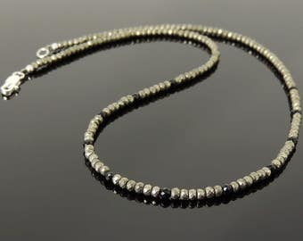 Men's Women Gold Pyrite Black Onyx SMALL BEADS Necklace 925 Sterling Silver Clasp DiyNotion Handmade NK181