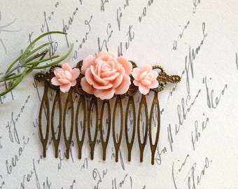 Combs Pretty Pale Pink Rose And Brass Comb